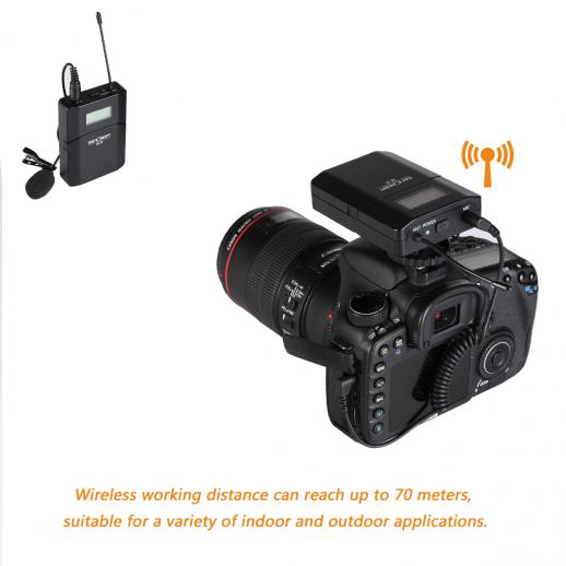 M8 UHF Wireless Lavalier Microphone for DSLR Camera