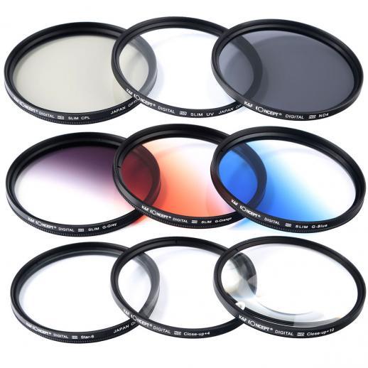 52mm filter set nd2 nd4 nd8 graduated blue orange